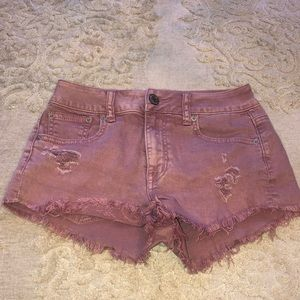Pink denim American eagle shorts
